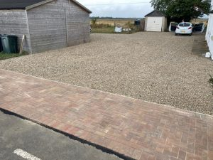 Gravel Driveway with Block Paving Apron in New Romney, Kent