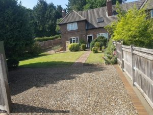 Gravel Driveway with Block Paving Patio in Westerham, Kent