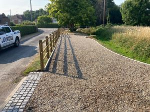 Gravel Driveway with Cobble Apron in Ashford, Kent