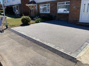 Resin Driveway with Grey Brick Border in Ashford, Kent