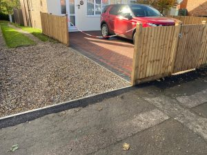 Block Paving Driveway with New Fence in Ashford, Kent