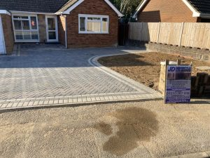 Charcoal and Light Grey Block Paving Driveway in Ashford, Kent