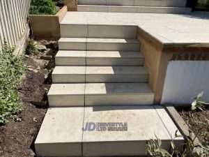 Porcelain Slabbed Patio with Steps in Tunbridge Wells