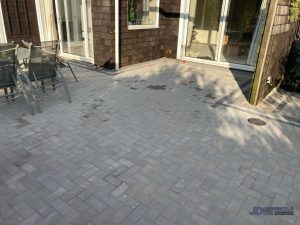 Block Paved Patio with Sleeper Border in Ashford, Kent